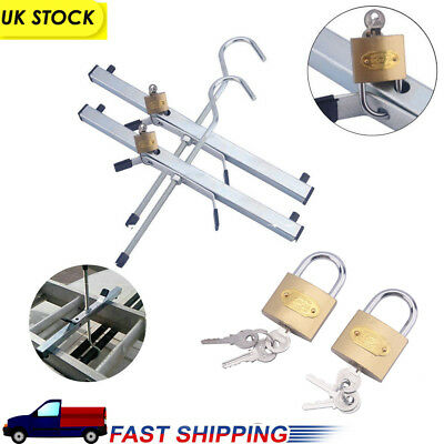 UNIVERSAL ALUMINIUM VAN CAR ROOF RACK LADDER HOOKS CLAMP LOCKABLE WITH 2 PADLOCK