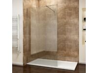 +SALE+ Walk in Wet Room Shower 1000mm Screen Panel (8mm Glass) with +Free Waste +1200 x 700mm Tray