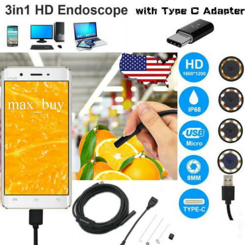 3 in 1 USB Endoscope Borescope Waterproof Snake Camera 6 LED for Mac OS Android
