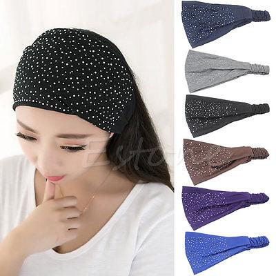 Damen Head Wrap Kopf Haarband Strass Headwear Turban Twist Stirnband Haarschmuck