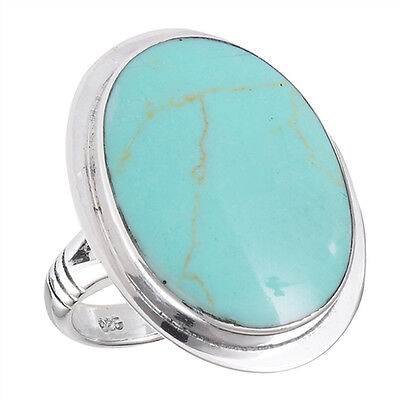 Large Turquoise Solitaire Statement Ring New 925 Sterling Silver Band Sizes 7-10 925 Sterling Silver Solitaire