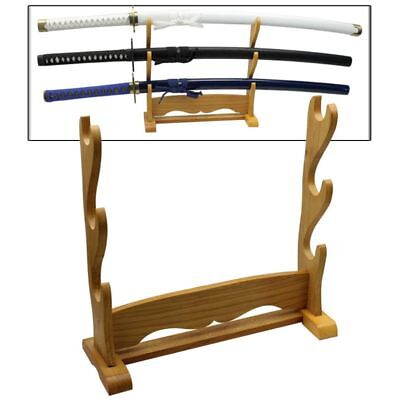 - Deluxe Three Tier Table Top Japanese Sword Katana Display Stand Natural Wood