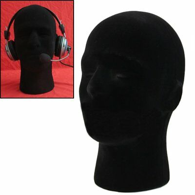 Male Styrofoam Mannequin Manikin Black Head Model Wigs Glasses Cap Display Stand