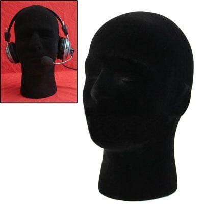 Male Styrofoam Mannequin Manikin Black Head Model Wigs Glasses Cap Display Stand