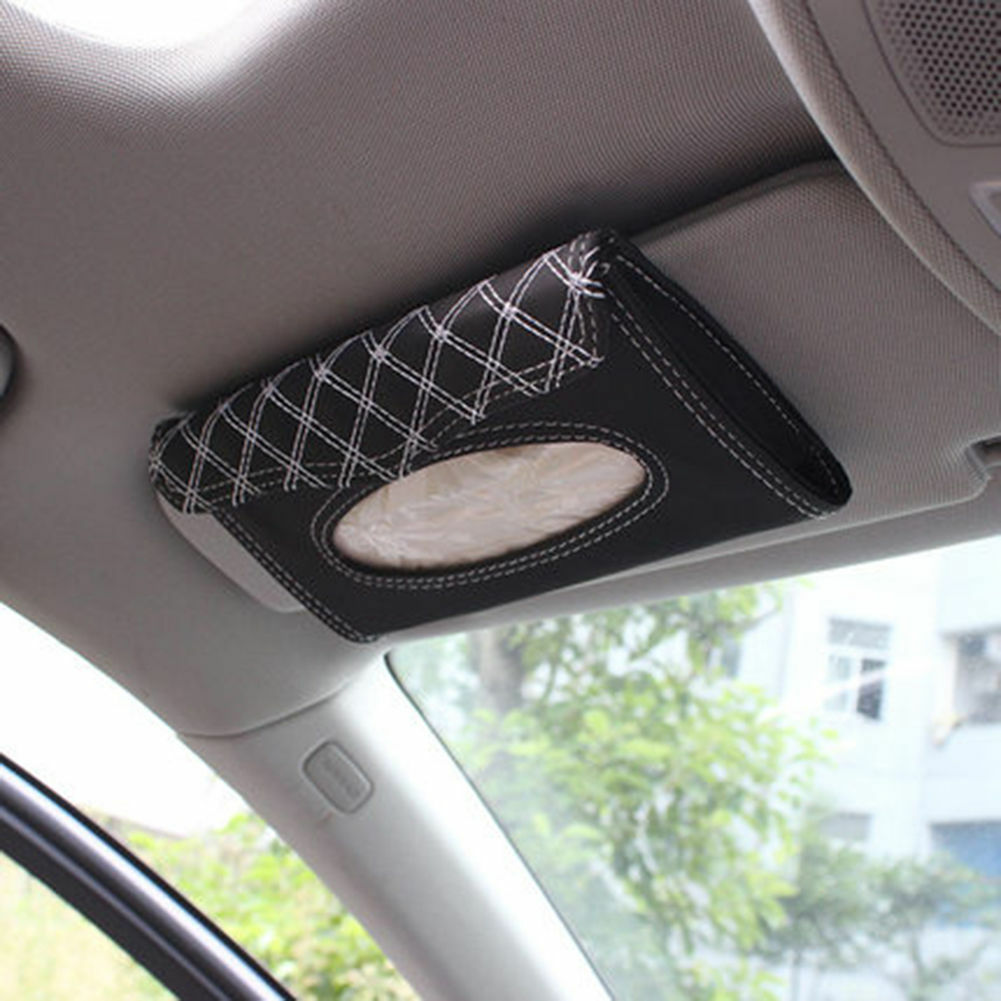 Car Accessories Sun Visor Tissue Paper Holder Clip Black/