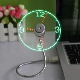 LED Clock USB Flexible Fan With Adjustable Gooseneck and Time Display - Perfect Gift For Office Desk