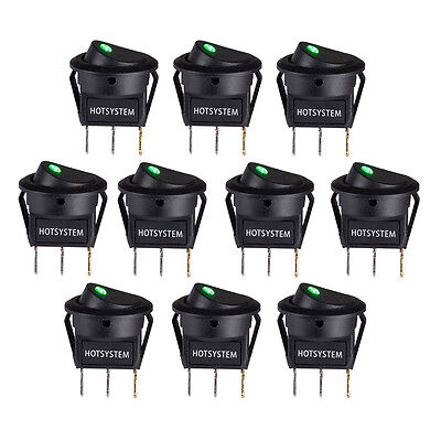Lot 10 Hotsystem Rocker Dot Toggle Spst Switch Green Led On-off Control Us