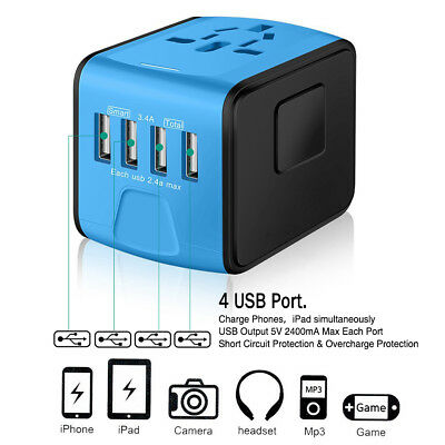 Universal 4 USB International Travel Wall Charger Adapter Power Converter Blue ()