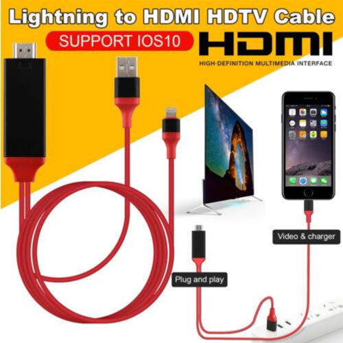Screen To TV Cable HDMI 1080p IOS Adapter USB Charger Conver