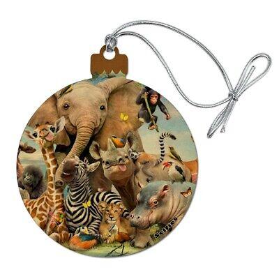 Africa Animals Smile Selfie Elephant Wood Christmas Tree Ornament ()
