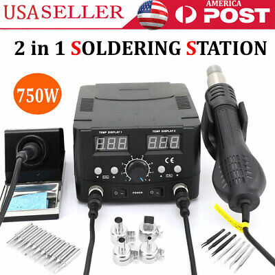 Digital Soldering Rework Station Hot Air Gun 2 In 1 Smd Iron Solder Welder