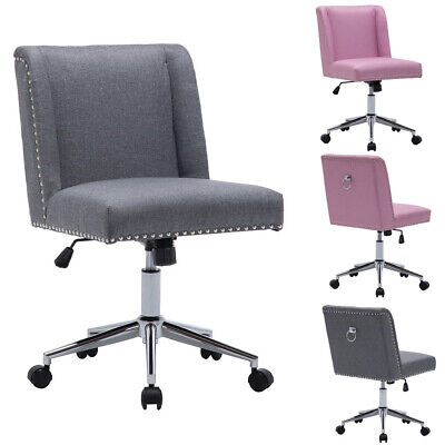 Fabric Task Chair Swivel Office Desk Armless Chairs Adjustable Height