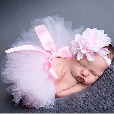 Newborn Headdress flower+Tutu Clothes Skirt Baby Girls Photo Prop Outfits A+