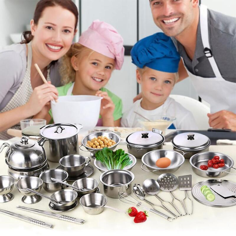 Kitchen Play Set for Kids 16pcs Stainless Steel Cooking Bake