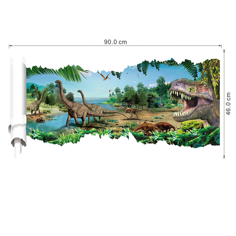 wandtattoo wandbild wandaufkleber kinderzimmer dinosaurier landschaft sticker 3d eur 12 45. Black Bedroom Furniture Sets. Home Design Ideas