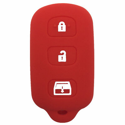 4 Buttons Red Silicone Key Shell Case Key Cover fit for Toyota 4runner Sequoia