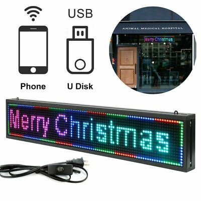 Outdoor Led Sign 40x8 Scroll Message Board 7 Color Programmable Scrolling Us