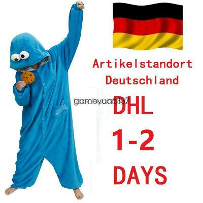 Krümelmonster Onesie Jumpsuit Overall Schlafanzug Pyjama Cookie Kostüm S-XL  DHL