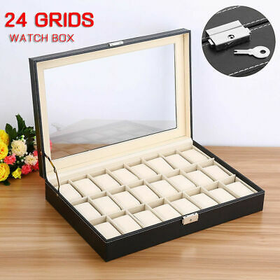 24 Slot Watch Box Display Case Organizer Cushion Storage Box WristWatch Bracelet