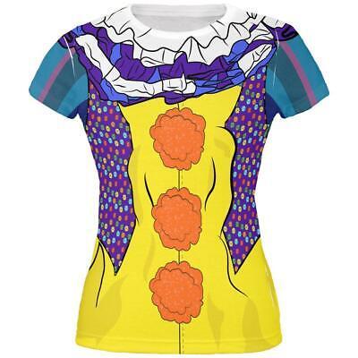 Halloween Creepy Clown Costume 1990s All Over Juniors T Shirt
