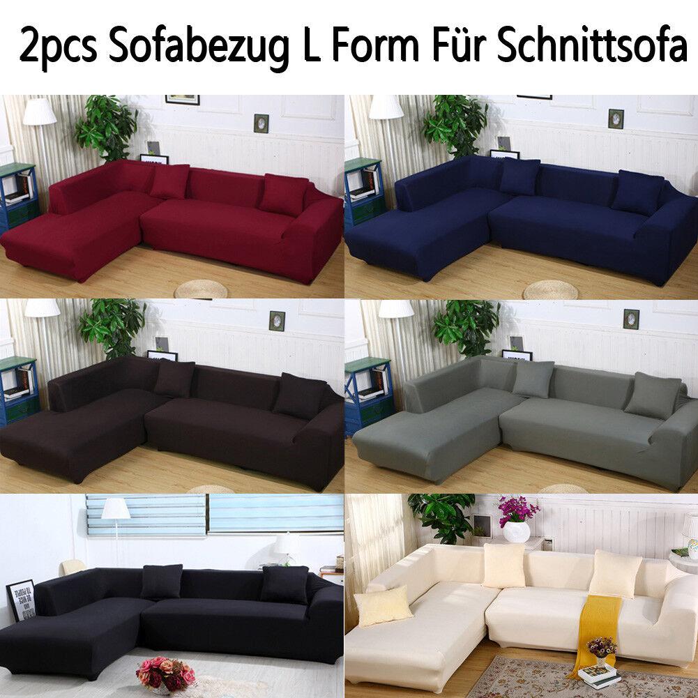 2pcs Sofabezug stretch elastische Sofahusse Abdeckung Für L Form Schnittsofa