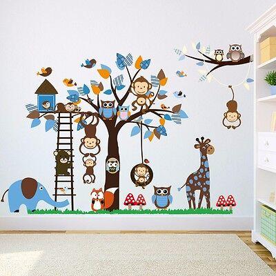 er Aufkleber Blau Junge Baby Affe Eule Baum Elefant Giraffe (Blaues Baby-elefant)