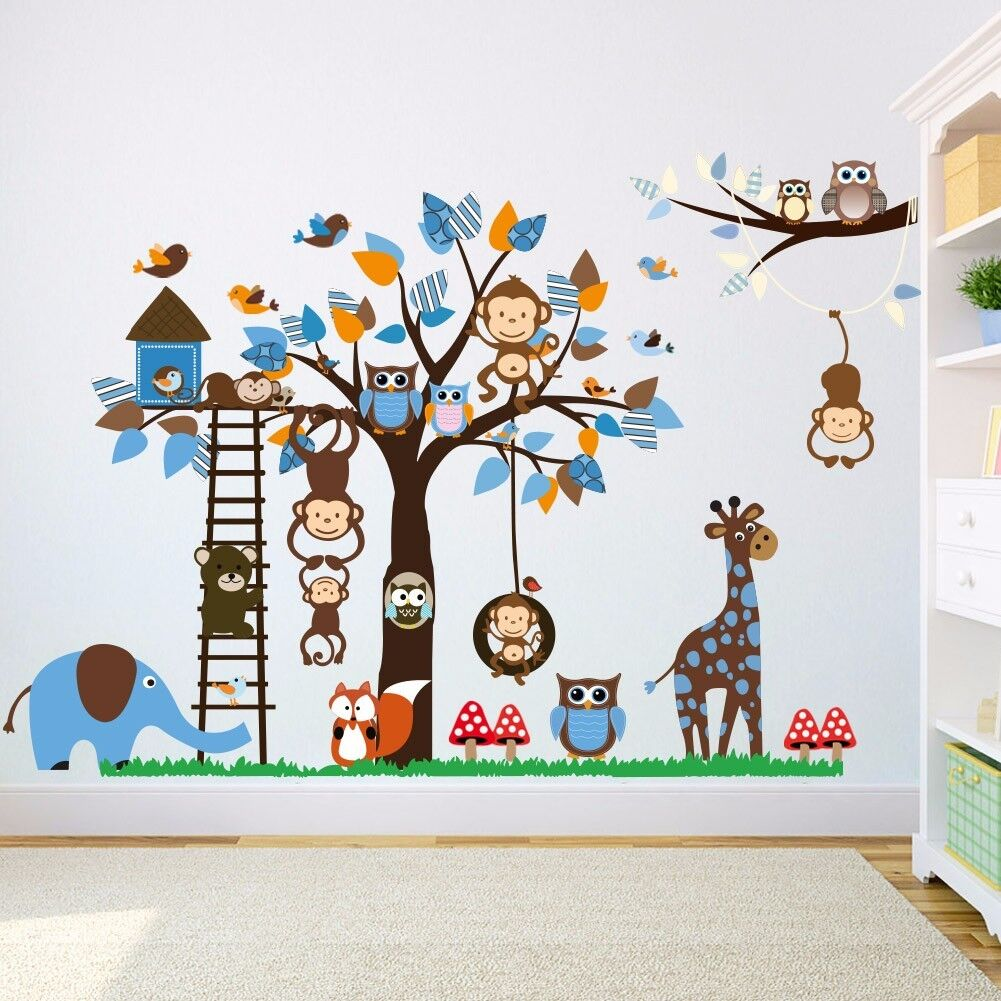 Gewaltig Wandsticker Kinderzimmer Junge Galerie Von Wandtattoo Aufkleber Blau Baby Affe Eule Baum
