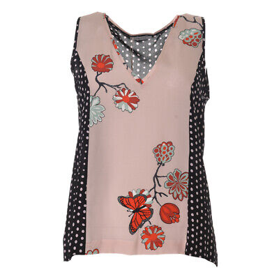 iBLUES MAX MARA Vest Top Pink & Black Dot Silk RRP £129 BG