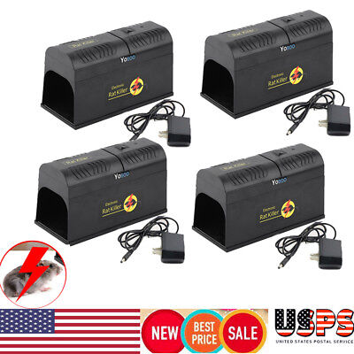 4x Electronic Mouse Trap Victor Control Rat Killer Pest Electric Zapper Rodent
