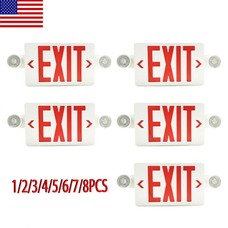 2/4/5/6/8Pack LED Exit Sign Emergency Light–Hi Output Compact Combo Red Fire UL