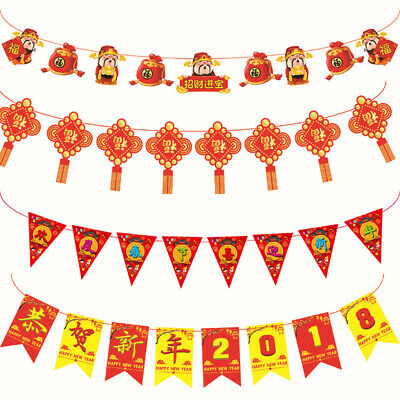 Happy Chinese New Year Bunting Banner Hanging Party Supply Garland -