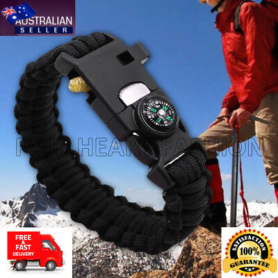 5 in 1 Camping Hiking Gear Survival Bracelet Compass Flint Fire Whistle Paracord