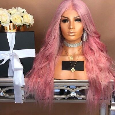 Curly Synthetic Ombre Hairstyle Blonde Hair For Women Full Wigs Long Wavy Pink](Pink Ladies Hairstyle)