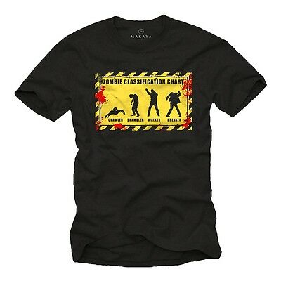 Walking Dead Zombie Chart - Herren T-Shirt - Nerd Halloween Geek Maske - Nerd Halloween Kostüm