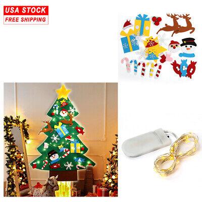 3ft DIY Felt Christmas Tree Set Detachable Ornaments Wall Hanging Kids Xmas Gift