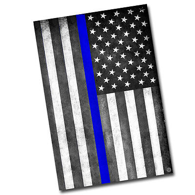 Subdued Thin Blue Line Flag For Law Enforcement 8x12 Inch Aluminum Sign
