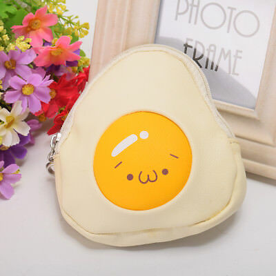 Women's Novelty Breakfast Theme Coin Purse Wallet Harajuku Poached Egg Handbag Novelty Coin Purses