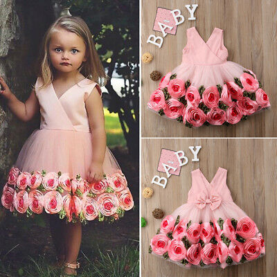 USA Long Princess Girls Dress Flower Solid Baby Lace Party Gown Formal - Lace Flower Girls Dresses