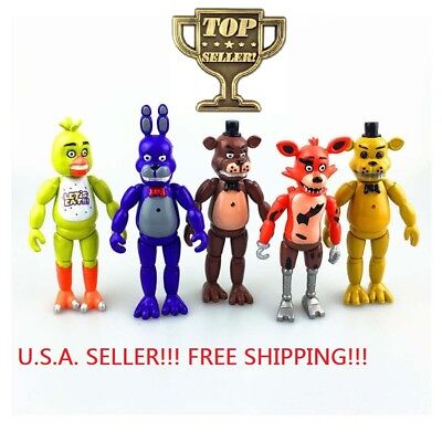 Fnaf Set Of 5 Pcs Five Nights At Freddys 6  Action Figures With Light Toys
