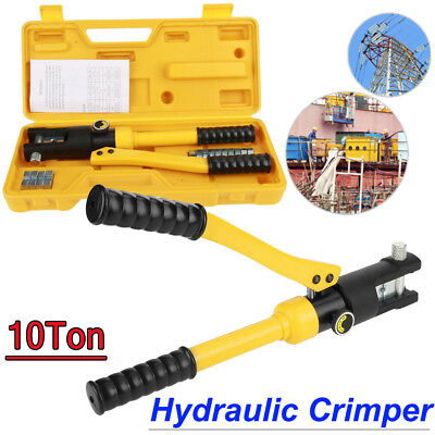 10 Ton Hydraulic Crimper Crimping Tool Wire Battery Cable Lug Terminal 14 Dies