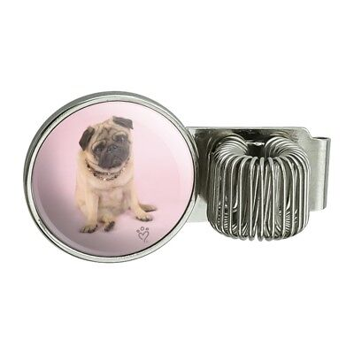 Pug Puppy Dog Sitting Pink Necklace Pen Holder Clip For Planner Journal Book