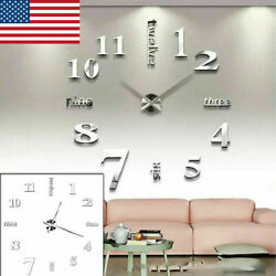 Large Wall Clock Modern 3D Acrylic Mirror Sticker Big Number Watch DIY Decor