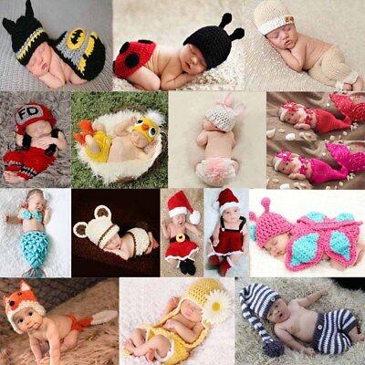 Newborn Baby Girls Boys Crochet Knit Costume Photo Photography Prop Outfits Cute - Costume Newborn