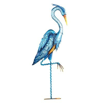 3 Ft. Blue Heron Crane Bird Garden Statue Metal Stake Yard Art Lawn Ornament