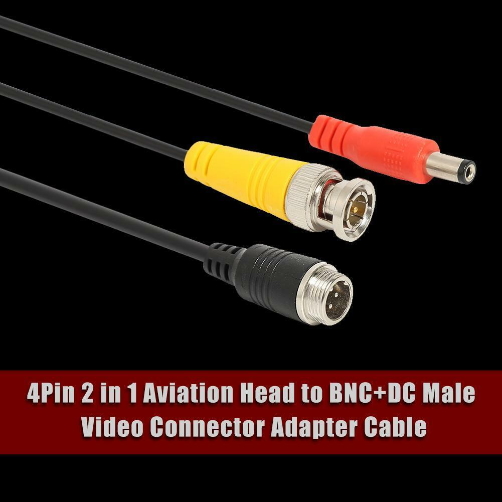 M12 4Pin Male TO BNC DC Video Adapter Cable Shielded Wire
