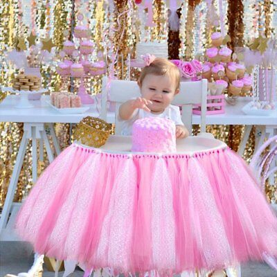 NEW Tulle Tutu Table Skirts Banner Pink for Baby Birthday High Chair Decoration - Pink Tutu Table Skirt