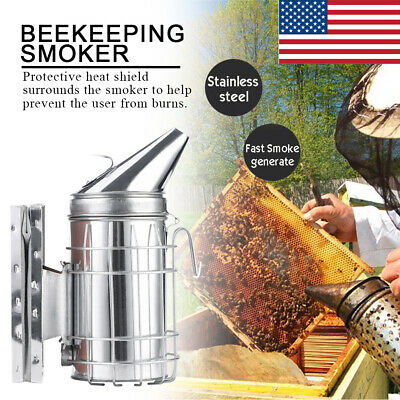 Bee Hive Smoker With Heat Shield Protection Board Iron Beekeeping Equipment