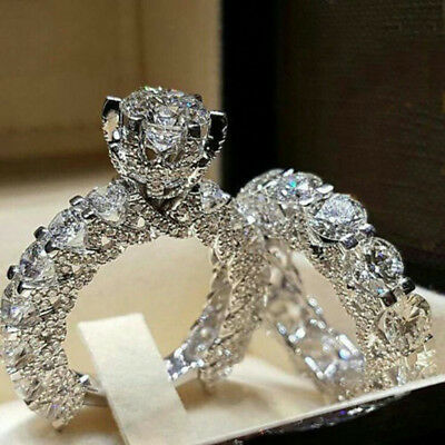 US Women White Sapphire Silver Ring Set Wedding Engagement Jewelry Gift (Rings)