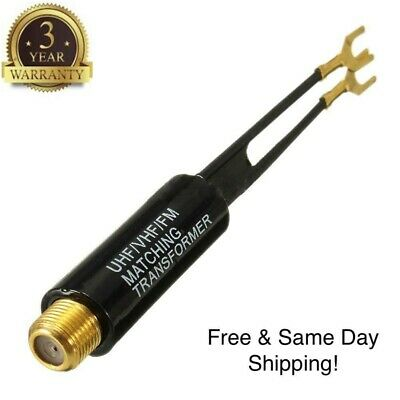 300 Ohm Tv Cable (UHF VHF FM Gold Plated 75-300 Ohm TV Antenna Matching Transformer Coaxial)