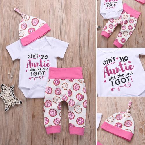 US Stock 3Pcs Newborn Kids Baby Boy Girl Top Romper Pants Ha